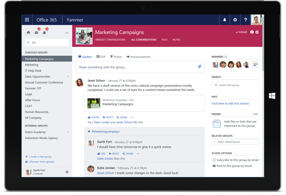 Collaboration software from Microsoft - Yammer