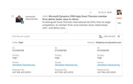 Microsoft Dynamics CRM - Réseaux sociaux